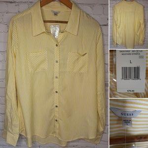 Guess striped button down shirt size L